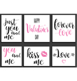 postcards romantic set valentines day lettering vector image vector image