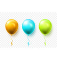 realistic blue green and gold balloons vector image