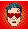 Retro Emoji lover man face vector image vector image
