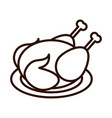 roasted chicken in dish dinner line icon style vector image