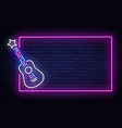 rock music neon sign neon frame rock star vector image vector image