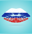 russia flag lipstick on the lips isolated on a vector image vector image