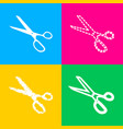 scissors sign four styles of icon on vector image vector image