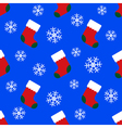 seamless pattern - christmas socks and snowflakes vector image vector image