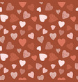seamless pattern with hand drawn hearts design vector image vector image