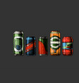 set beverage cans vector image vector image