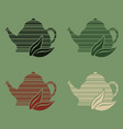 set of 4 icons of stylized teapots with different vector image vector image