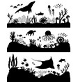 silhouette sea coral reef oceanic animal set vector image