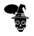 skull halloween with hat witch and speech bubble vector image vector image