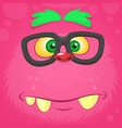 smart pink monster face for t-shirt vector image vector image