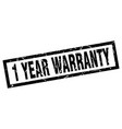 square grunge black 1 year warranty stamp vector image vector image
