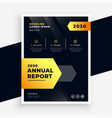 stylish black and yellow annual report flyer vector image vector image