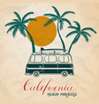 summer of retro bus and surf vector image vector image