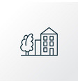 tree with building icon line symbol premium vector image vector image