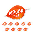trendy autumn leaf sale tag vector image vector image