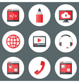 Website White and Red Icons Set vector image vector image