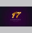 17 seventeen gold golden number numeral digit vector image vector image