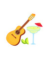 acoustic guitar margarita and lime string vector image