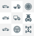auto icons line style set with tie hood vector image vector image