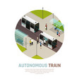 autonomous train isometric composition vector image vector image