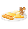 biscuits cheese and mouse vector image vector image
