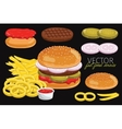 burgers isolated on black background vector image vector image