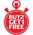 Buy 2 get 1 free red stopwatch vector image vector image