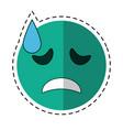 cartoon crying face emoticon funny vector image