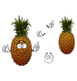 Cartoon yellow ripe pineapple fruit vector image vector image