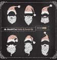 chalk Christmas hats moustache and beards vector image