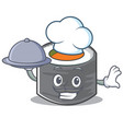 chef sushi cartoon character style vector image