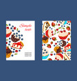 cupcake promo card set vector image