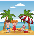 cute kids at beach vector image vector image