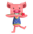 dancing pig on white background vector image vector image
