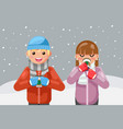 geek hipster couple winter hot drink tea coffee vector image