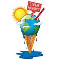 global warming with earth and hot sun vector image vector image