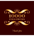 gold 10000 followers badge over brown vector image vector image