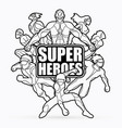 group of super heroes action with text vector image vector image