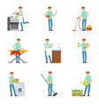 happy househusband men cleaning their house vector image vector image