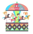 Happy kids riding merry go round vector image vector image