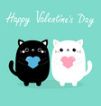 happy valentines day white and black bacat vector image vector image