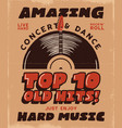 hard music poster concert and festival tee vector image vector image