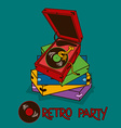 Invitation to retro party with gramophone vector image vector image