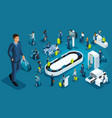 isometric set international airport business trip vector image vector image