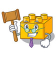 judge plastic building tyos shaped on mascot vector image vector image
