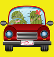 Just married couple of cactus driving a red car vector image vector image