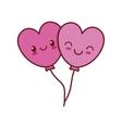 kawaii love heart balloons valentine vector image vector image