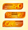 medical orange horizontal banners set vector image vector image