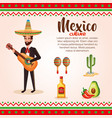 mexican mariachi with set icons character vector image