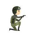 military man with gun soldier character in vector image vector image